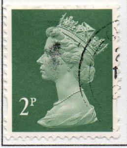 Great Britain Sc MH201 1993 2p dark green  QE II  Machin Head stamp used
