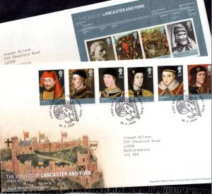 2008 The Houses of Lancaster and York Kings and Queens FDC SP PMK x 2 WS10494
