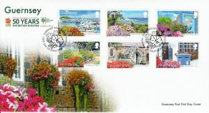 Guernsey 2014 FDC RHS Britain in Bloom 50 Years 6v Set Cover Flowers Herm SEPAC