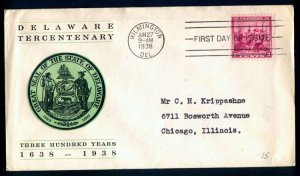 US #836 FIRST DAY COVER, DELAWARE, COLORFUL CACHET,  Linprint,  SUPER NICE!