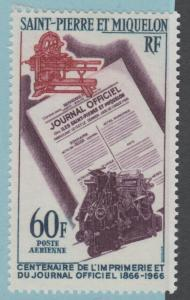 ST PIERRE AND MIQUELON C34 AIRMAIL  MINT HINGED OG * NO FAULTS EXTRA FINE!
