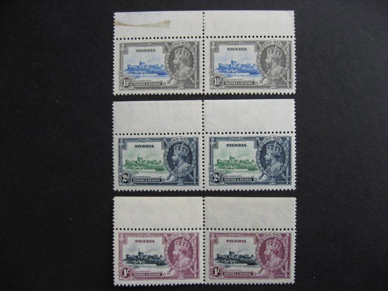 1935 Silver Jubilee Nigeria Sc 34, 35, 37 3 pairs stamps MNH,margin MH or faulty