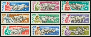 Mongolia 1961 MNH Stamps Scott 243-251 Agriculture Animals Camels Horses Sheep