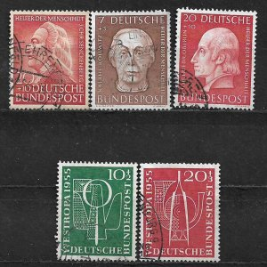 COLLECTION LOT OF 5 GERMANY  SEMI POSTAL STAMPS 1953+ CV = $33