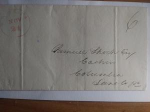 STAMPLESS LETTER W/ RED CANCEL YORK, PA AMERICAN POSTAL HISTORY 1839 !! WOW !!!!
