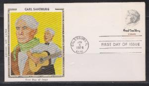 1731 Carl Sandburg Unaddressed Colorano Silk FDC