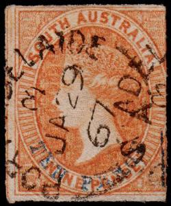 South Australia Scott 22 (1866) Used G-F, CV $50.00 M