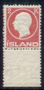 ICELAND #97 (119) 2kr rose, og, NH, VF, Facit $95.00