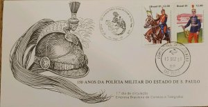 A) 1981, BRAZIL, 150 YEARS OF THE STATE MILITARY POLICE OF SAO PAULO, FDC, ECT,