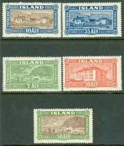 ICELAND : Scott #144-48 Fresh & Very Fine, Mint Original Gum Hinged Catalog $285