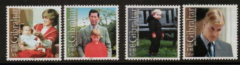 GIBRALTAR SG932/5 2000 PRINCE WILLIAMS BIRTHDAY  MNH