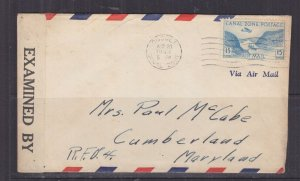 CANAL ZONE, 1943 Censored Airmail cover, Cocoli, 15c. to USA.