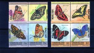Union Island 1985 Sc#194-7 Butterflies (8) Specimen MNH VF