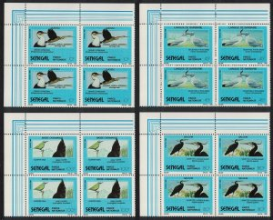 Senegal Eagle Cormorant Darter Heron Birds 4v Corner Blocks of 4 1989 MNH