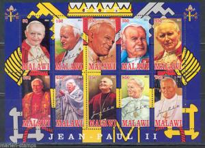 MALAWI  2012 POPE JOHN PAUL II SHEET OF TEN PART II  MINT NH