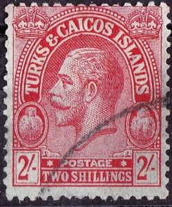 TURKS & CAICOS ISLANDS 1922 2/- Red/Emerald SG174 FU