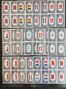 US 1943-4 Overrun Countries Complete Set of MNH Blocks of 4