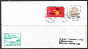 UNITED NATIONS NY 1986 LUFTHANSA DC10 to Stuttgart Germany First Flight Cover