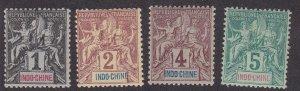Indo-China # 3-6, Navigation & Commerce, Hinged, 1/3 Cat.