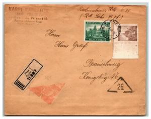 Bohemia Moravia 1940 Registered Cover / Censor 26 Mark - Z13839