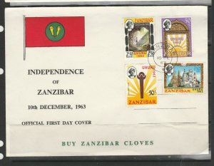 Zanzibar FDC 1963 Independence commem set SG 390/3, Note