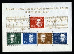 WEST GERMANY 1959 Beethoven Hall Inauguration Mini-Sheet SG MS1233a MINT