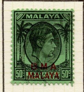 Malaya Straights Settlements 1945 Early Shade of Used 50c. BMA Optd 307964