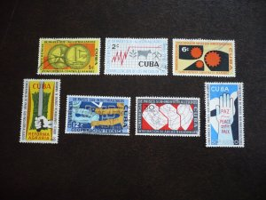 Stamps - Cuba - Scott# 663-665,C215-C218 - Used Set of 7 Stamps