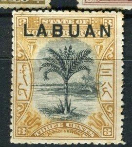 NORTH BORNEO LABUAN; 1890s classic Pictorial issue Mint hinged 3c. value