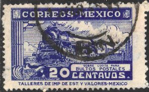 MEXICO Q2, 20¢ PARCEL POST. STEAM ENGINE. USED. F-VF (955)