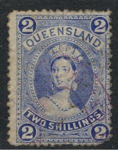 QUEENSLAND 1882 - 1910 2/- BLUE CHALON HEAD