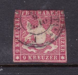 Wurttemberg a used 9Kr from 1857