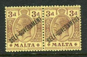 MALTA; 1922 early GV issue SELF-GOVT Optd Mint hinged 3d. Pair