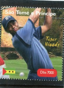 Sao Tome & principe 2004 GOLF Tiger Woods American 1v Perforated Mint (NH)