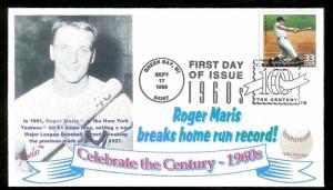 UNITED STATES FDC 33¢ Roger Maris Home Run Baseball 1999 Juvelar