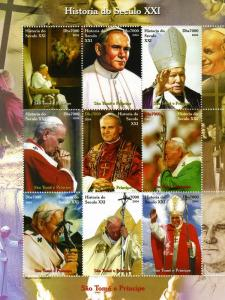 Sao Tome & Principe 2004 Pope John Paul II Sheet Perforated Mnh.vf