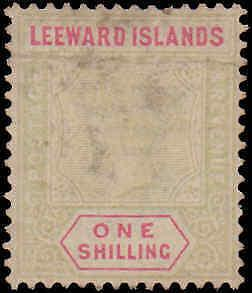 1890 Leeward Islands #7, Incomplete Set, Hinged