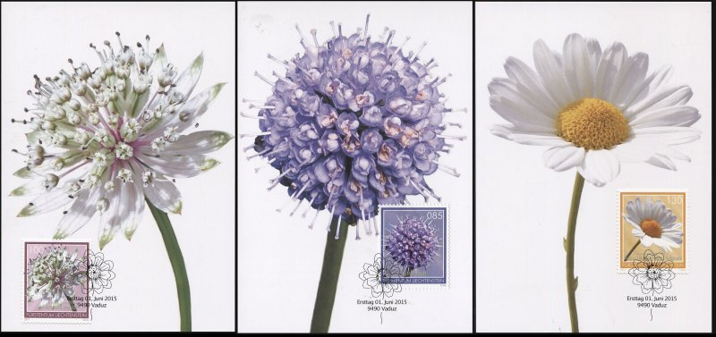Liechtenstein. 2015. Meadow Flowers (Mint) Set of 3 Maxi Cards