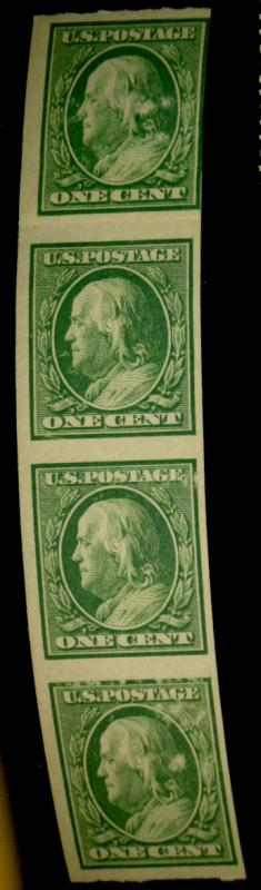 343V MINT Paste Up Strip of 4 F-VF OG Green Offset on gum Cat$75