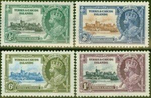 Turks & Caicos Is 1935 Jubilee set of 4 SG187-190 Fine Mtd Mint