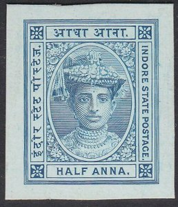 INDIA INDORE 1904-20, ½a Blue plate proof on thick card - very fine.........F180