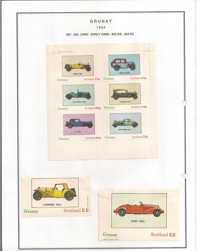SCOTLAND - GRUNAY - 1982 - Cars, Early - Perf 6v, Souv, D/L  Sheets - MLH