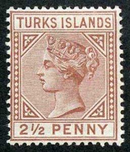 TURKS ISLANDS SG56 2 1/2d red-brown Wmk Crown CA Perf 14 M/M (hinge remainder)