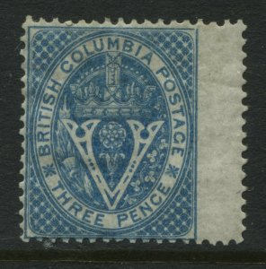 British Columbia 1865 3d blue mint o.g. hinged choice centering