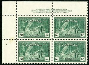 Canada Stamps # 272 MNH XF Plate Block of 4 Scott Value $70.00