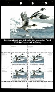 NEWFOUNDLAND #2M 1995 GOLDENEYES CONSERVATION STAMP MINI SHEET OF 4 IN FOLDER