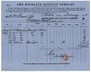 (I.B) The Highland Railway : Despatched Goods Invoice (1881)