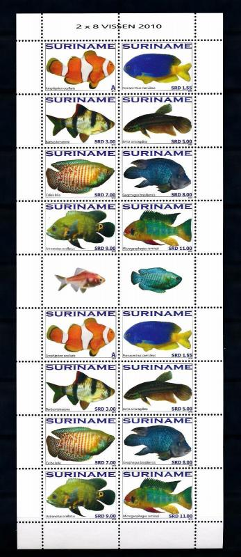 [SUV1756] Surinam Suriname 2010 Fish Fisch Poisson Miniature Sheet with tab MNH