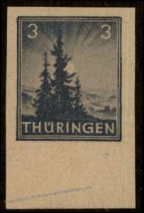 Germany Soviet Zone SBZ Thuringia Thueringen Fir Tree Proof Imperf Margin  63367