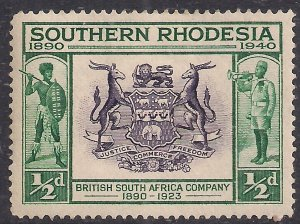 Southern Rhodesia 1940 KGV1 1/2d Coat of Arms MM SG 53 ( 401 )